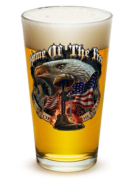 16 Ounces Pint Glass Home Of The Free Because Of The Brave - Star Spangled 1776