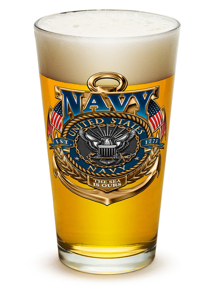 16 Ounces Pint Glass Navy The Sea Is Ours - Star Spangled 1776