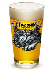 16 Ounces Pint Glass Never Retreat Never Surrender Marine Corps