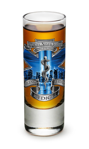 2 Ounces Shooter Shot Glass 911 EMS Blue Skies - Star Spangled 1776