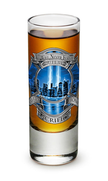 2 Ounces Shooter Shot Glass 911 Firefighter Blue Skies - Star Spangled 1776