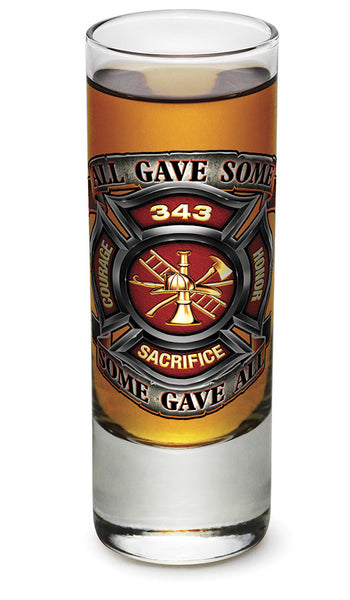 2 Ounces Shooter Shot Glass Fire Honor Courage Sacrifice 343 Badge - Star Spangled 1776
