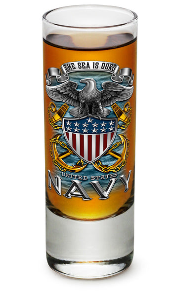 2 Ounces Shooter Shot Glass NAVY Full Print Eagle - Star Spangled 1776