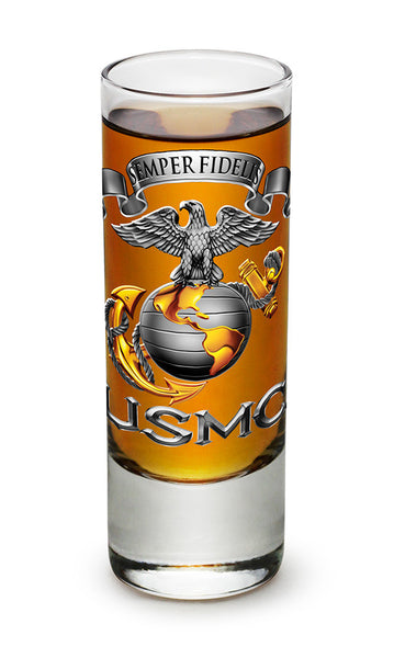2 Ounces Shooter Shot Glass USMC-SEMPER FIDELIS - Star Spangled 1776