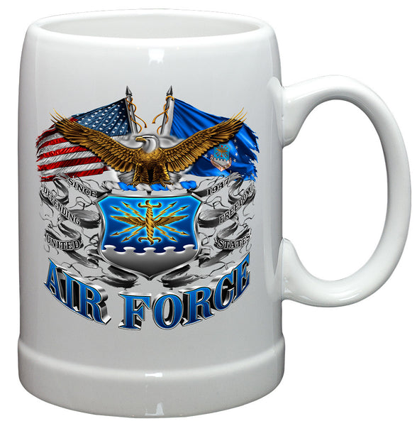 20 Ounces Stoneware Double Flag Air Force Eagle - Star Spangled 1776
