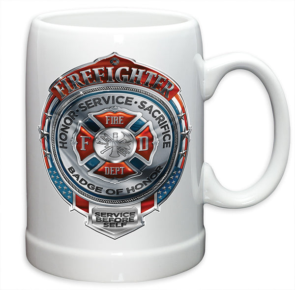 20 Ounces Stoneware Fire Honor Service Sacrifice Chrome Badge