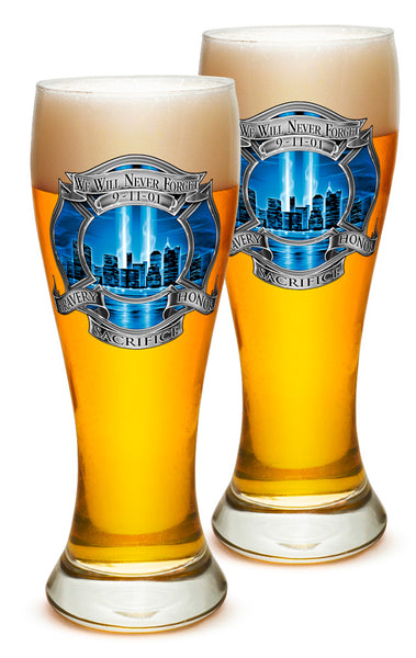 23 Ounces Pilsner Glass 911 Firefighter Blue Skies