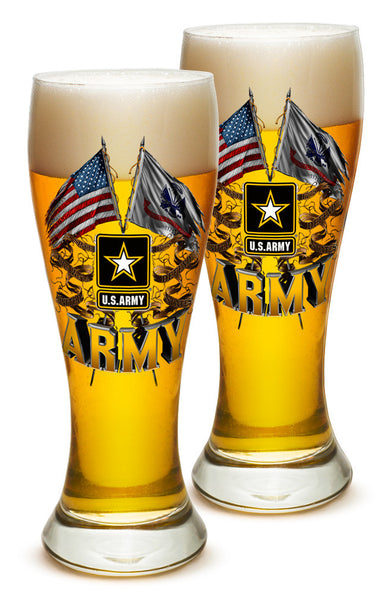 23 Ounces Pilsner Glass Army Double Flag US Army - Star Spangled 1776