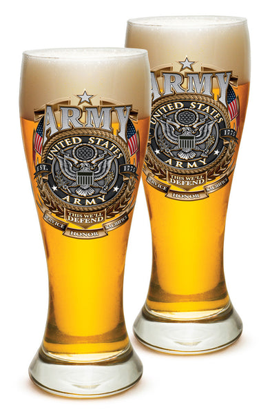 23 Ounces Pilsner Glass ARMY Gold Shield - Star Spangled 1776