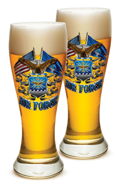 23 Ounces Pilsner Glass Double Flag Air Force Eagle - Star Spangled 1776