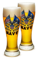 23 Ounces Pilsner Glass Double Flag Eagle Navy Shield - Star Spangled 1776