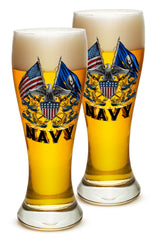 23 Ounces Pilsner Glass Double Flag Eagle Navy Shield