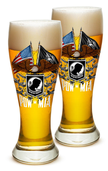 23 Ounces Pilsner Glass Double Flag Eagle POW - Star Spangled 1776