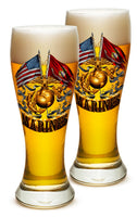 23 Ounces Pilsner Glass Double Flag Gold Globe Marine Corps - Star Spangled 1776