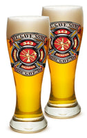 23 Ounces Pilsner Glass Fire Honor Courage Sacrifice 343 Badge