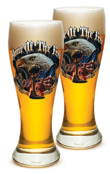 23 Ounces Pilsner Glass Home Of The Free Because Of The Brave - Star Spangled 1776