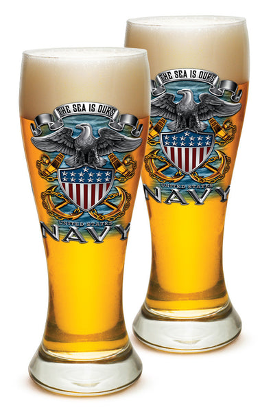 23 Ounces Pilsner Glass NAVY Full Print Eagle - Star Spangled 1776