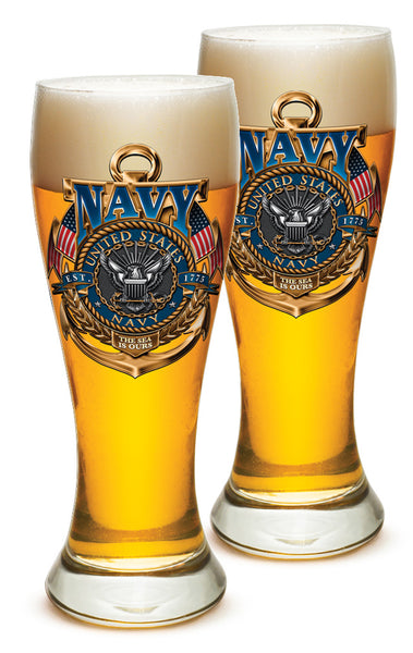 23 Ounces Pilsner Glass Navy The Sea Is Ours