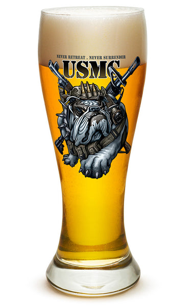 23 Ounces Pilsner Glass Never Retreat Never Surrender Marine Corps - Star Spangled 1776