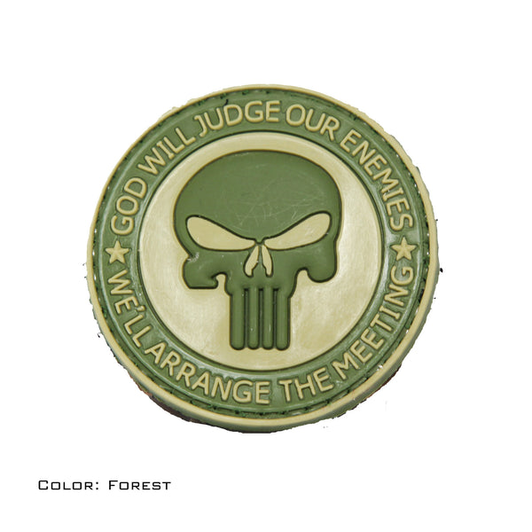 God Will Judge Our Enemies We'll Arrange The Meeting Forest PVC Morale Patch - Star Spangled 1776