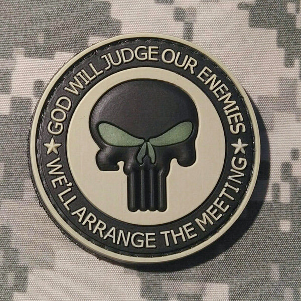 God Will Judge Our Enemies We'll Arrange The Meeting Tan and Black With Glow Eyes PVC Morale Patch - Star Spangled 1776