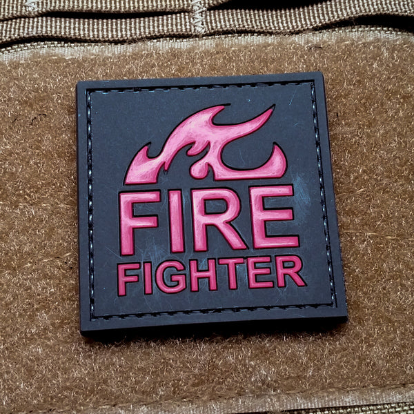 Fire Fighter Black and Red PVC Morale Patch - Star Spangled 1776