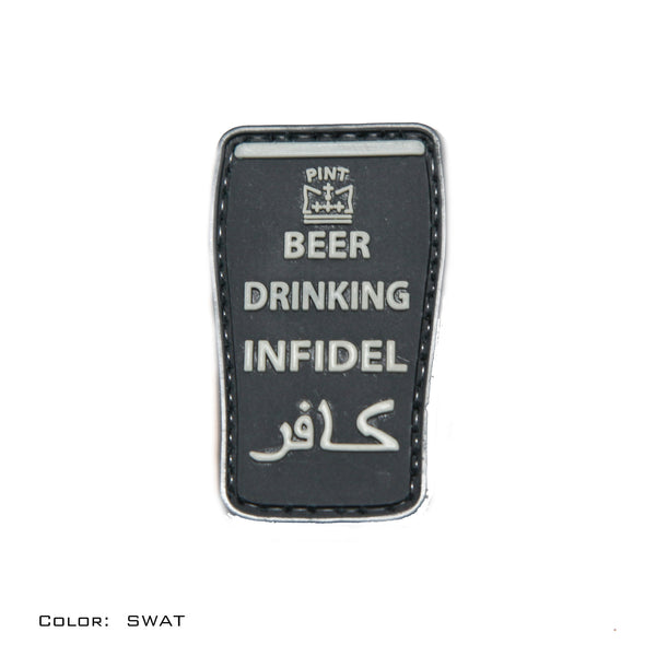 Beer Drinking Infidel SWAT Black PVC Morale Patch - Star Spangled 1776
