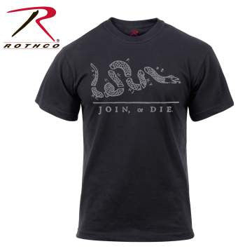 Join Or Die T-Shirt- Black Short Sleeve Tee Shirt - Star Spangled 1776