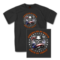 American By Birth Biker By Choice Grey T-Shirt - Star Spangled 1776