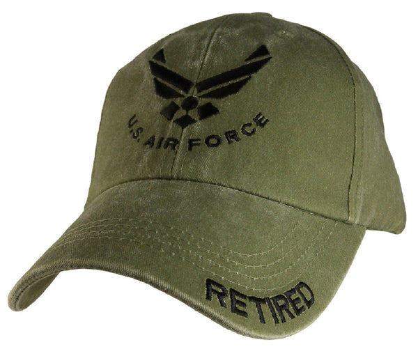 "Air Force ""Retired"" OD Embroidered Military Baseball Cap - Star Spangled 1776"