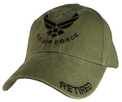 "Air Force ""Retired"" OD Embroidered Military Baseball Cap"