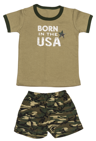 Boy Camo Shirt and Shorts Set Born in the USA - Star Spangled 1776
