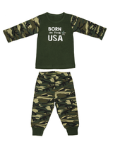 Boy Camo Top and Pant Set Born in the USA - Star Spangled 1776