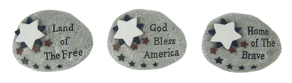 Summer Americana Small Rock Figurines - Star Spangled 1776