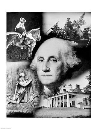 George Washington's Face over Montage Patriotic Art 16 X 20 Print - Star Spangled 1776