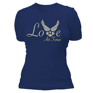 Love Air Force Blue Military T-Shirt for Women - Star Spangled 1776