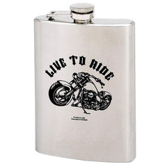 Live to Ride- 8 Oz. Stainless Steel Flask