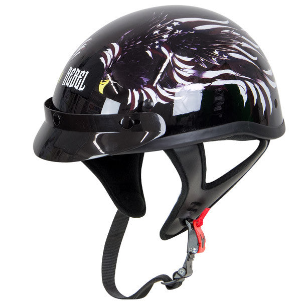 Rebel R100 Glossy Flying Eagle Graphic Half Helmet - Star Spangled 1776