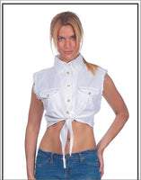 Women's White Denim Sleeveless Shirt with Buttons - Star Spangled 1776