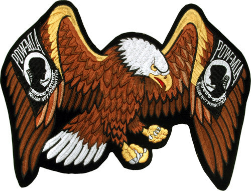Eagle With POW Design Motorcycle Jacket Patch - Star Spangled 1776