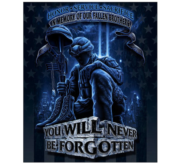 Never Forget Fallen Soldier 50 X 60 Fleece Throw Blanket - Star Spangled 1776