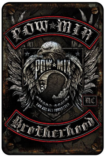 POW MIA Biker with Rockers 8 X 12 Metal Sign - Star Spangled 1776