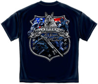 Elite Breed Police Foil T-Shirt- 100% Cotton Navy Blue Short Sleeve LEO Tee Shirt - Star Spangled 1776