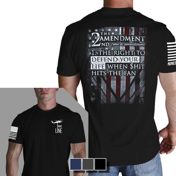 2nd Amendment Definition T-Shirt- Nine Line Men's Black Military Tee Shirt - Star Spangled 1776