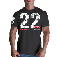 22 A Day T-Shirt- Nine Line Men's Charcoal Grey Military Tee Shirt - Star Spangled 1776