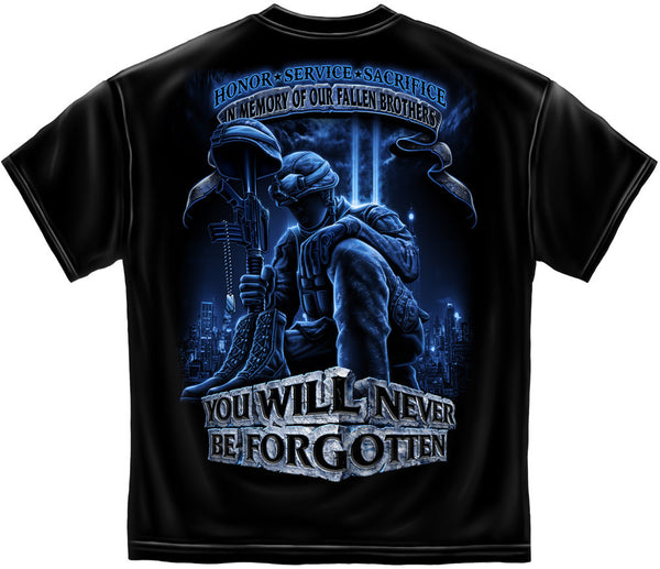 Military T-Shirt Never Forget Fallen Soldier Black - Star Spangled 1776