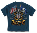 Navy T-Shirt Double Flag Eagle Navy Shield Navy - Star Spangled 1776