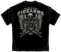 2nd Amendment T-Shirt United States Fire Arms Silver Foil Black - Star Spangled 1776