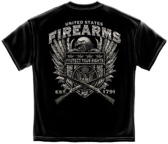 2nd Amendment T-Shirt United States Fire Arms Silver Foil Black