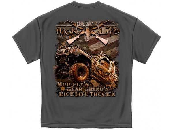Mud Trucking T-Shirt- Hick Life 100 Pct Cotton Grey - Star Spangled 1776